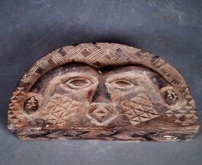 AFRICAN COPPER MTD WOOD ROYAL FACE MASK & DEMILUNE BOX