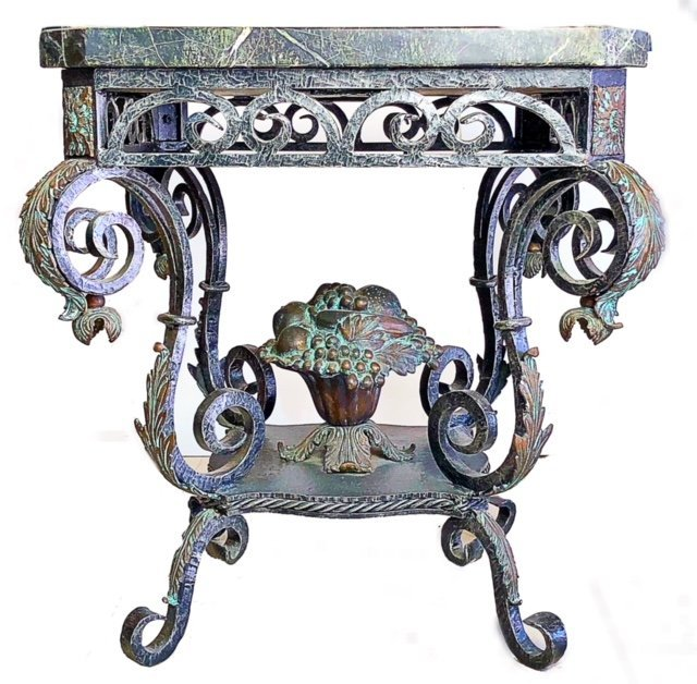 FRENCH ROCOCO STYLE MARBLE TOP BRONZE CONSOLE