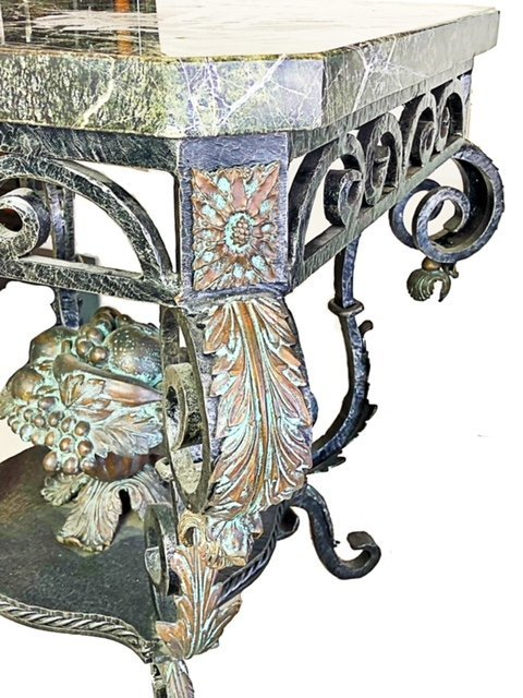 FRENCH ROCOCO STYLE MARBLE TOP BRONZE CONSOLE - 3