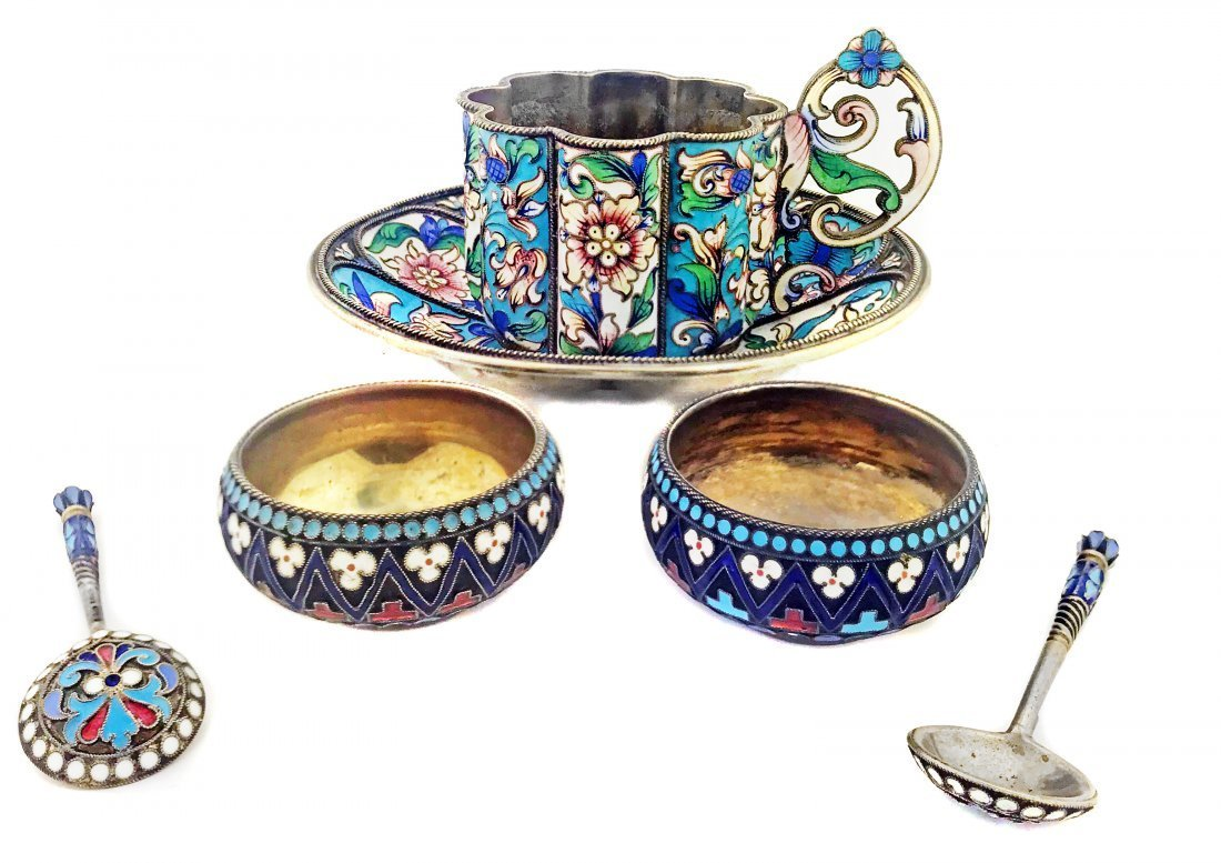 RUSSIAN SILVER AND ENAMEL TEA-CUP AND SAUCER