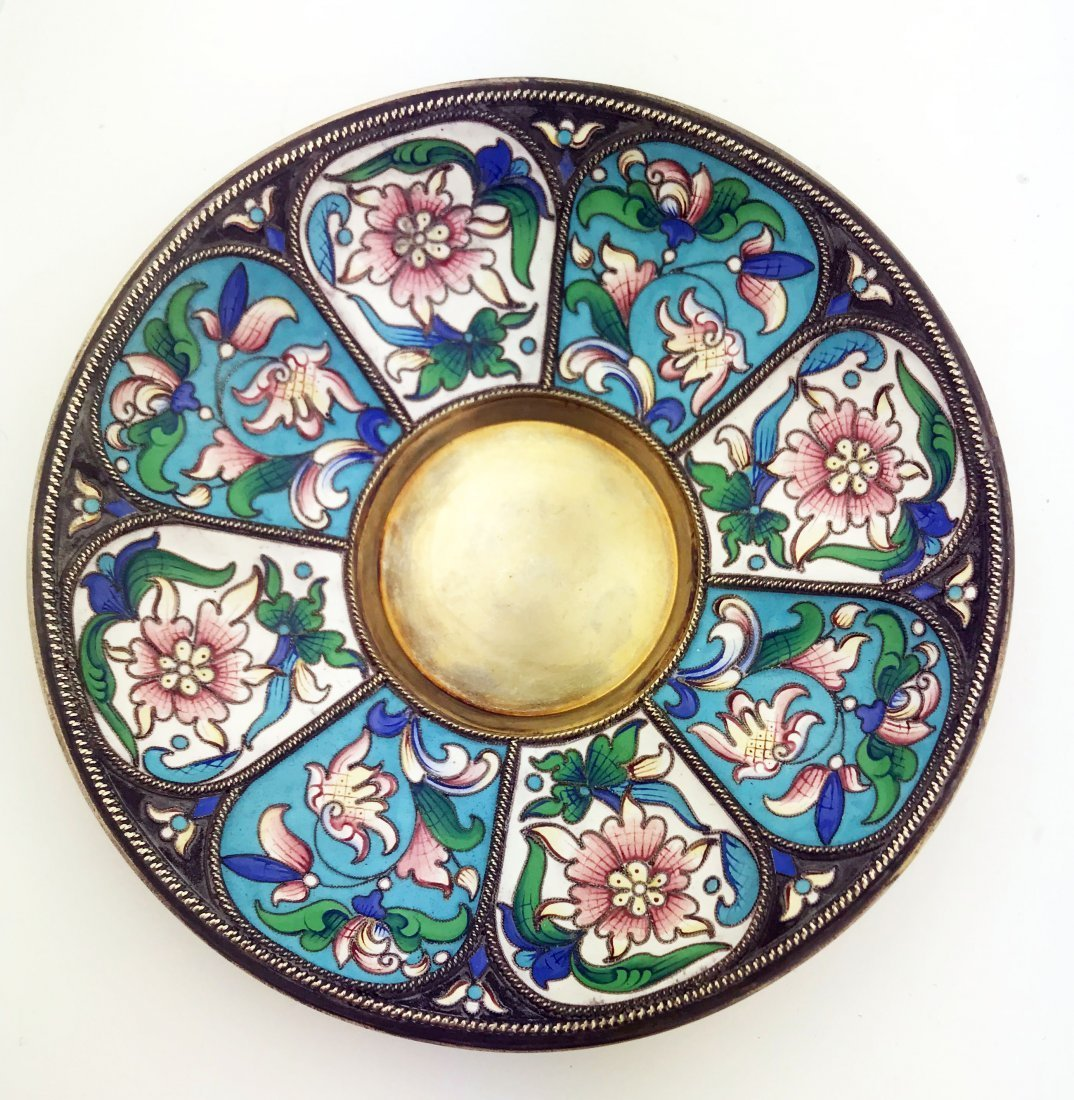 RUSSIAN SILVER AND ENAMEL TEA-CUP AND SAUCER - 2