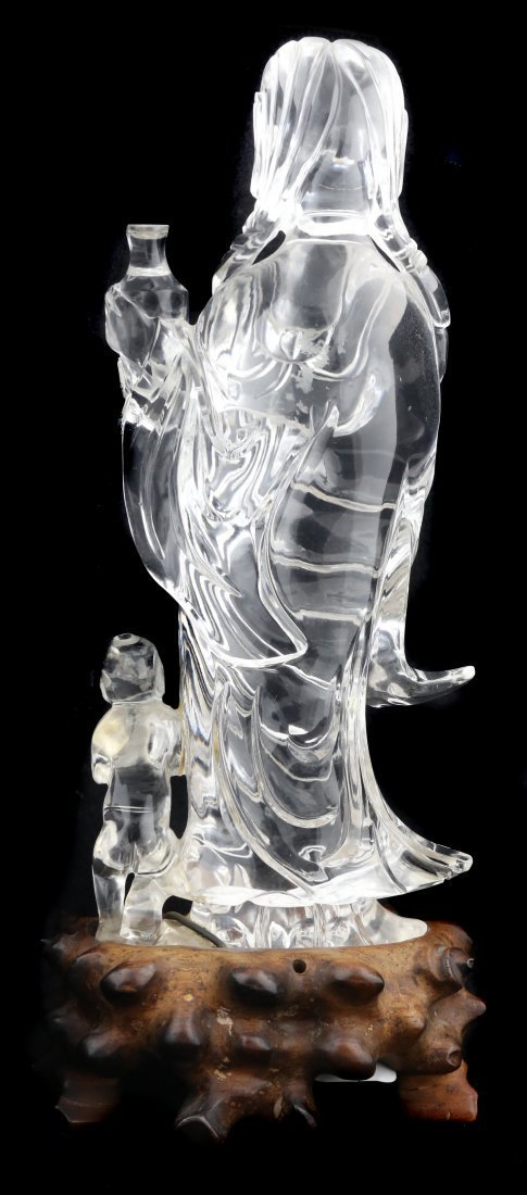 A ROCK CRYSTAL GODESS WITH CHILD OF BUDDHA, CHINESE - 3