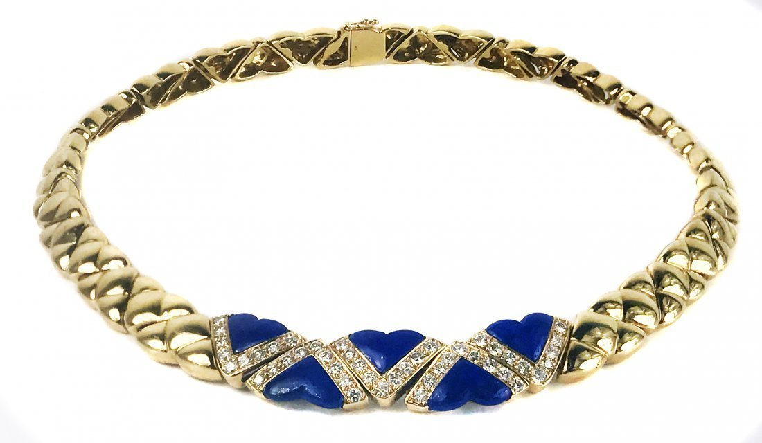 FRED, A GOLD, DIAMOND AND LAPIS NECKLACE