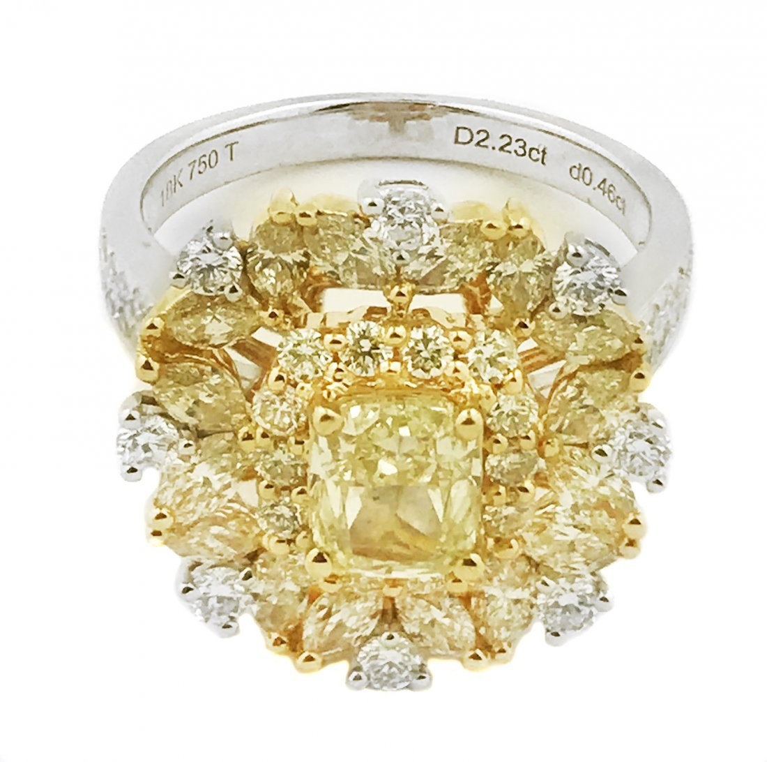 18 KARAT GOLD, YELLOW DIAMOND AND DIAMOND RING