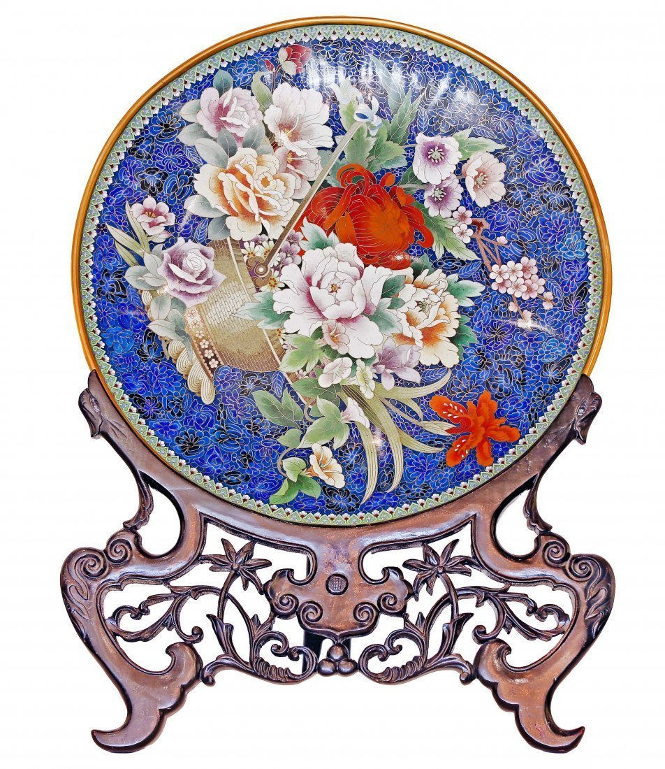 FINE & LARGE CHINESE CLOISSONE ENAMEL CHARGER