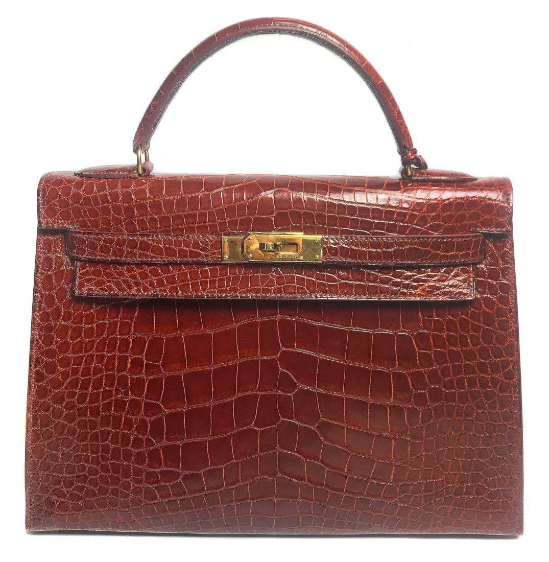 AN HERMES BROWN ALLIGATOR KELLY BAG