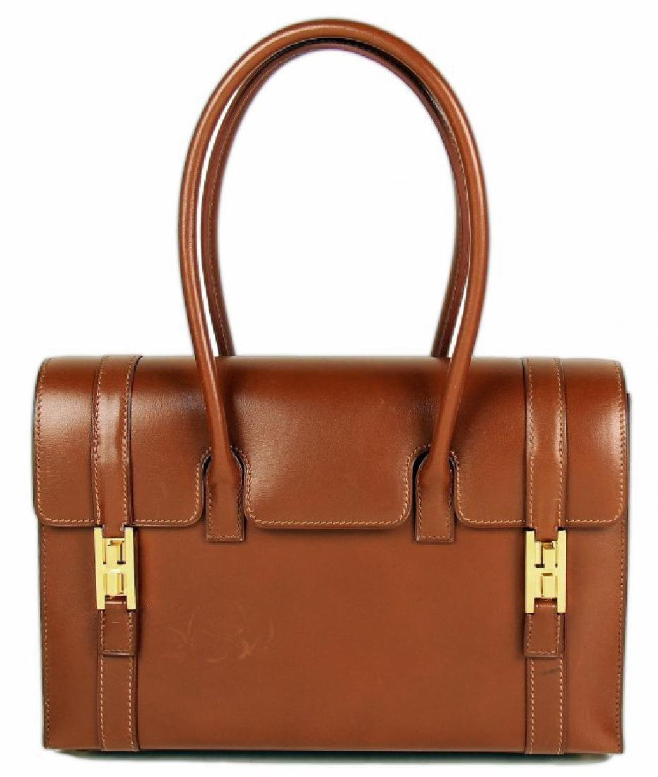 HERMES A NOISETTE CALF BOX LEATHER DRAG HANDBAG