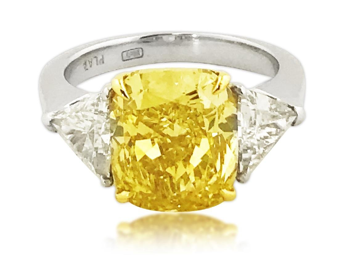 GIA CERTIFIED FANCY INTENSE YELLOW 4.30 CARAT DIAMOND