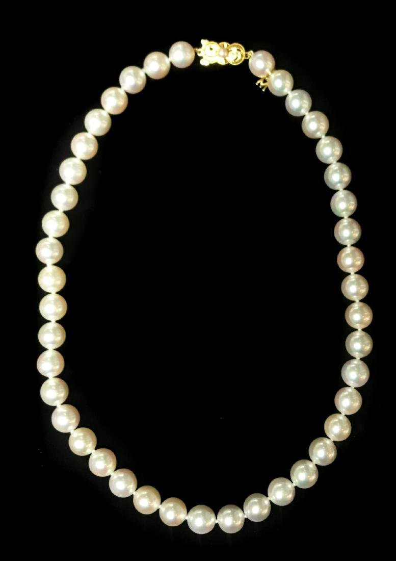 MIKIMOTO, VERY FINE CULTURED PEARL NECKLACE