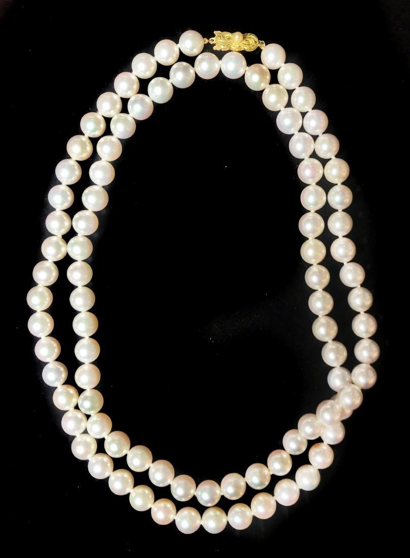 FINE MIKIMOTO, SILVER WHITE CULTURED PEARL NECKLACE