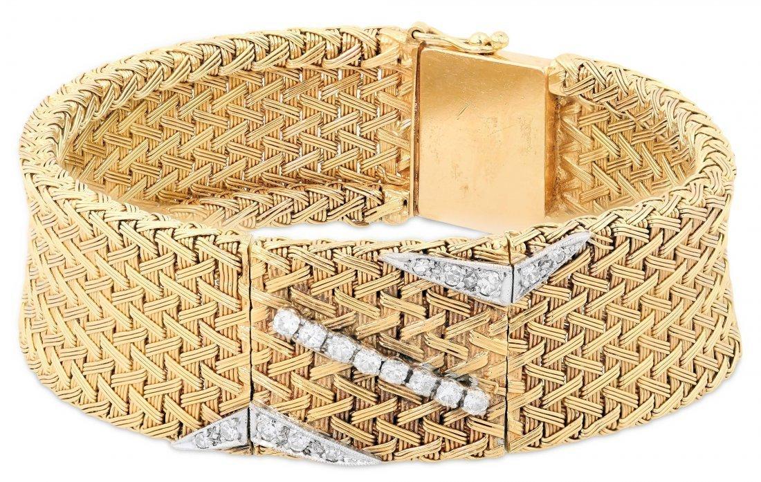 EBEL 14 KARAT YELLOW GOLD AND DIAMOND WRISTWATCH