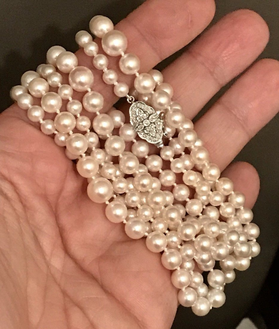 FINE AKOYA PEARL AND DIAMOND NECKLACE - 3