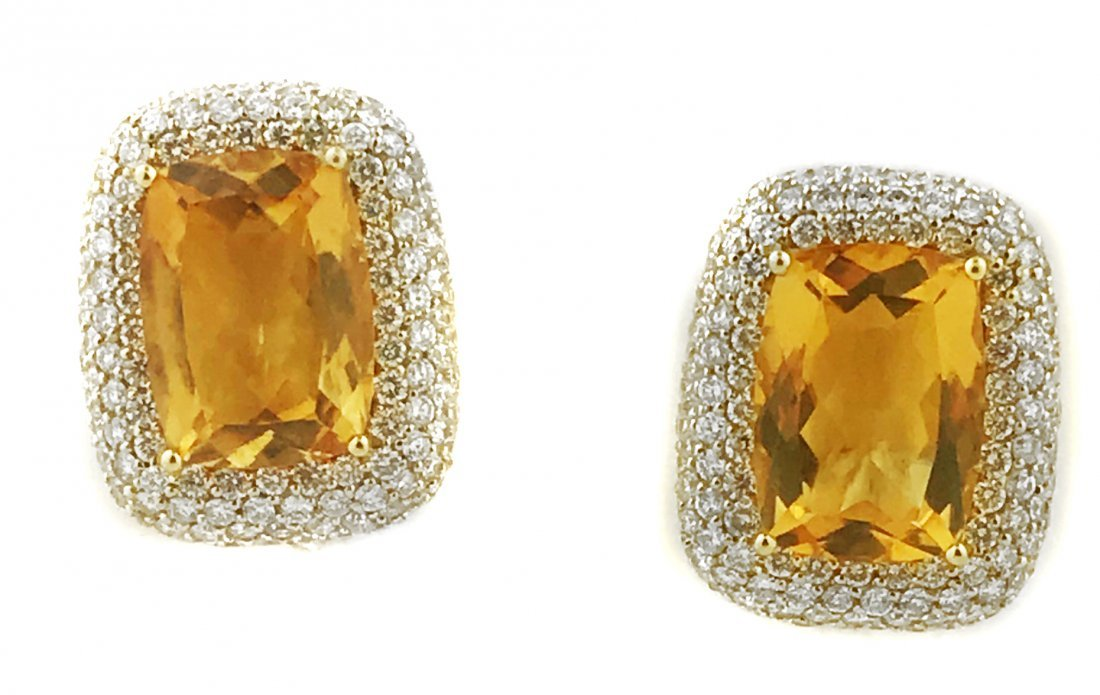 18 KARAT GOLD CITRINE AND DIAMOND EAR CLIPS
