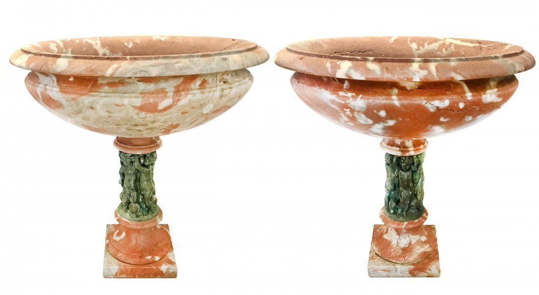 PAIR CARVED ROUGE MARBLE AND BRONZE TAZZAS