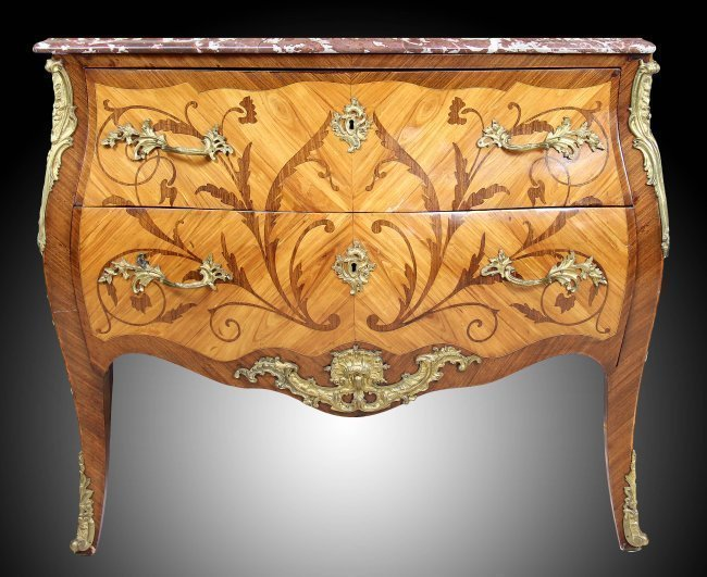 A LOUIS XV/XVI STYLE TRANSITIONAL COMMODE