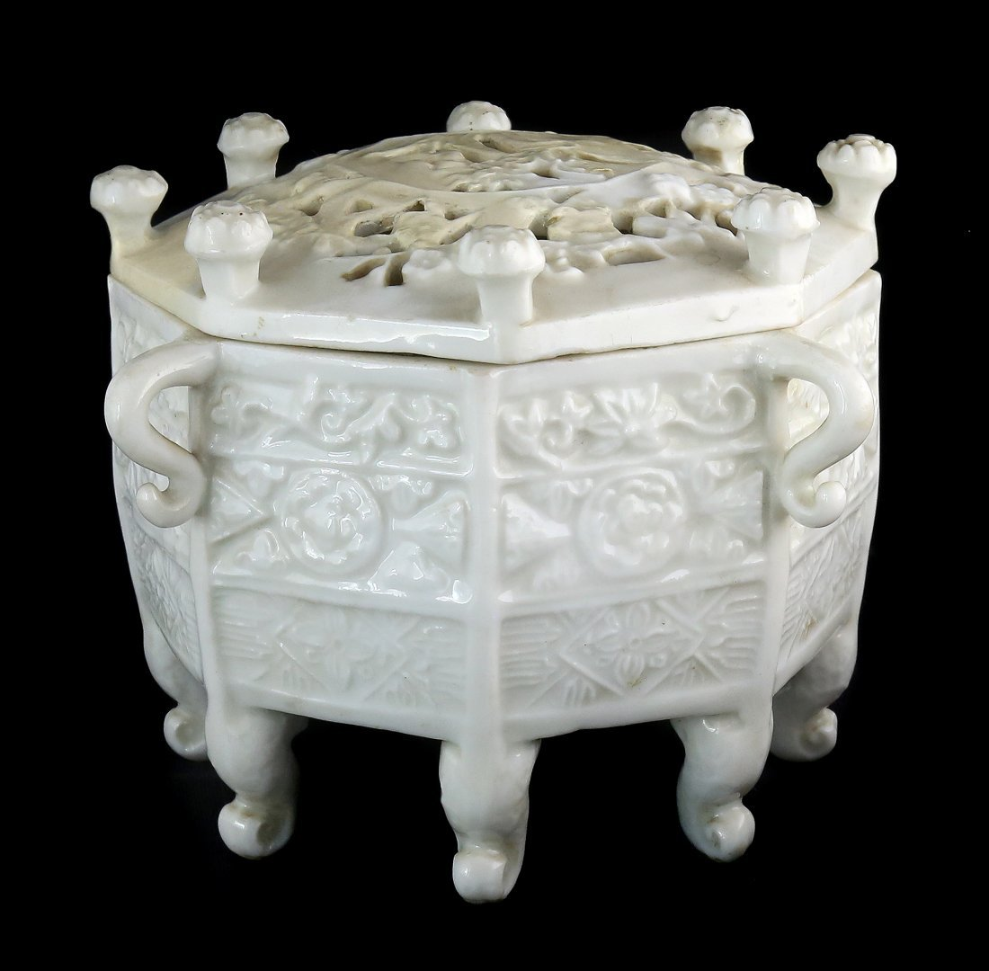 BLANC-DE-CHINE `MARCO POLO' OCTAGONAL CENSER, CHINESE