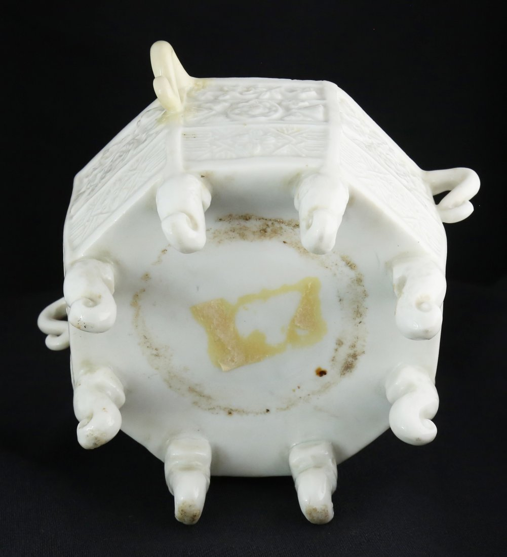 BLANC-DE-CHINE `MARCO POLO' OCTAGONAL CENSER, CHINESE - 2
