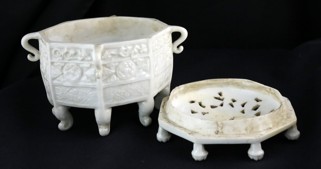 BLANC-DE-CHINE `MARCO POLO' OCTAGONAL CENSER, CHINESE - 4