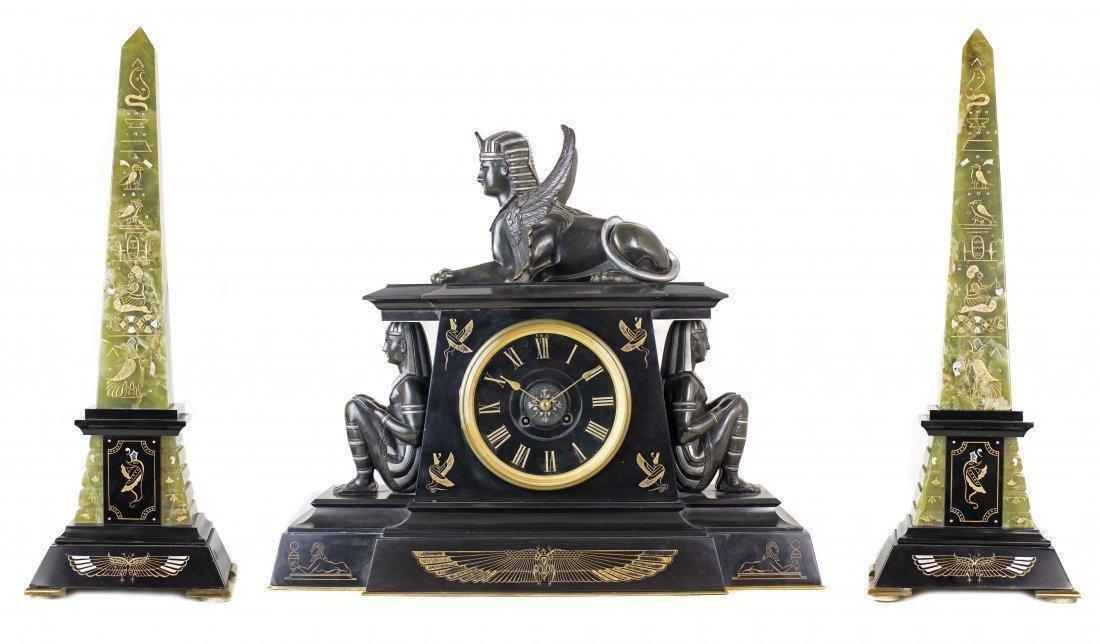 FINE THREE PIECE CLOCK GARNITURE, 19TH CENTURY