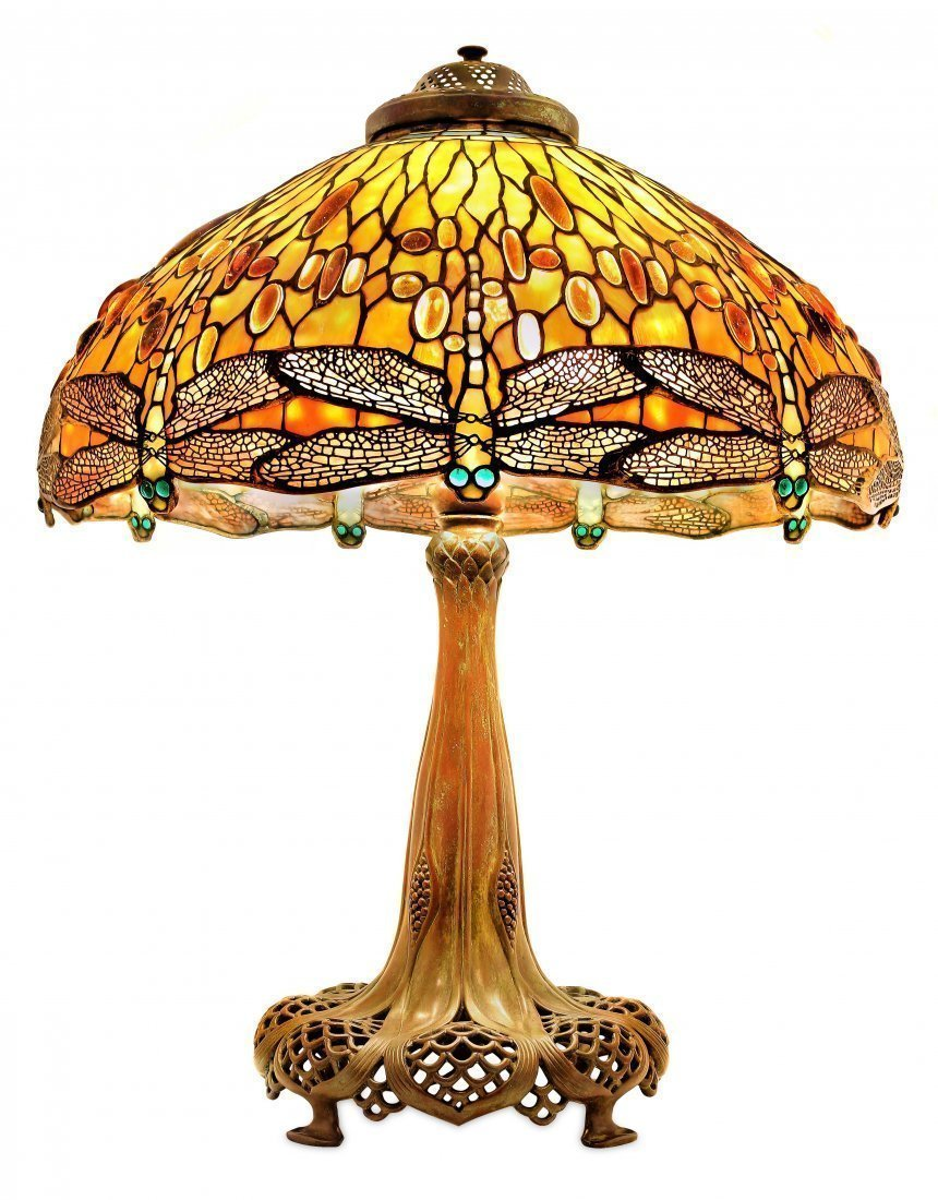 IMPORTANT TIFFANY DROP HEAD DRAGONFLY LAMP