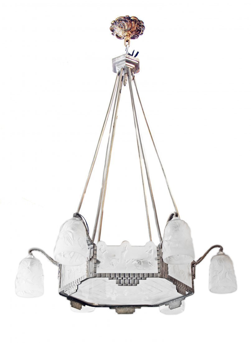 A FRENCH ART DECO CUT AND FROSTED GLASS CHANDELIER