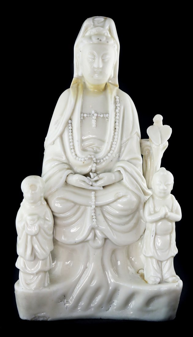 Blanc-de-Chine Triad Group of Avalokitesvara, CHINESE