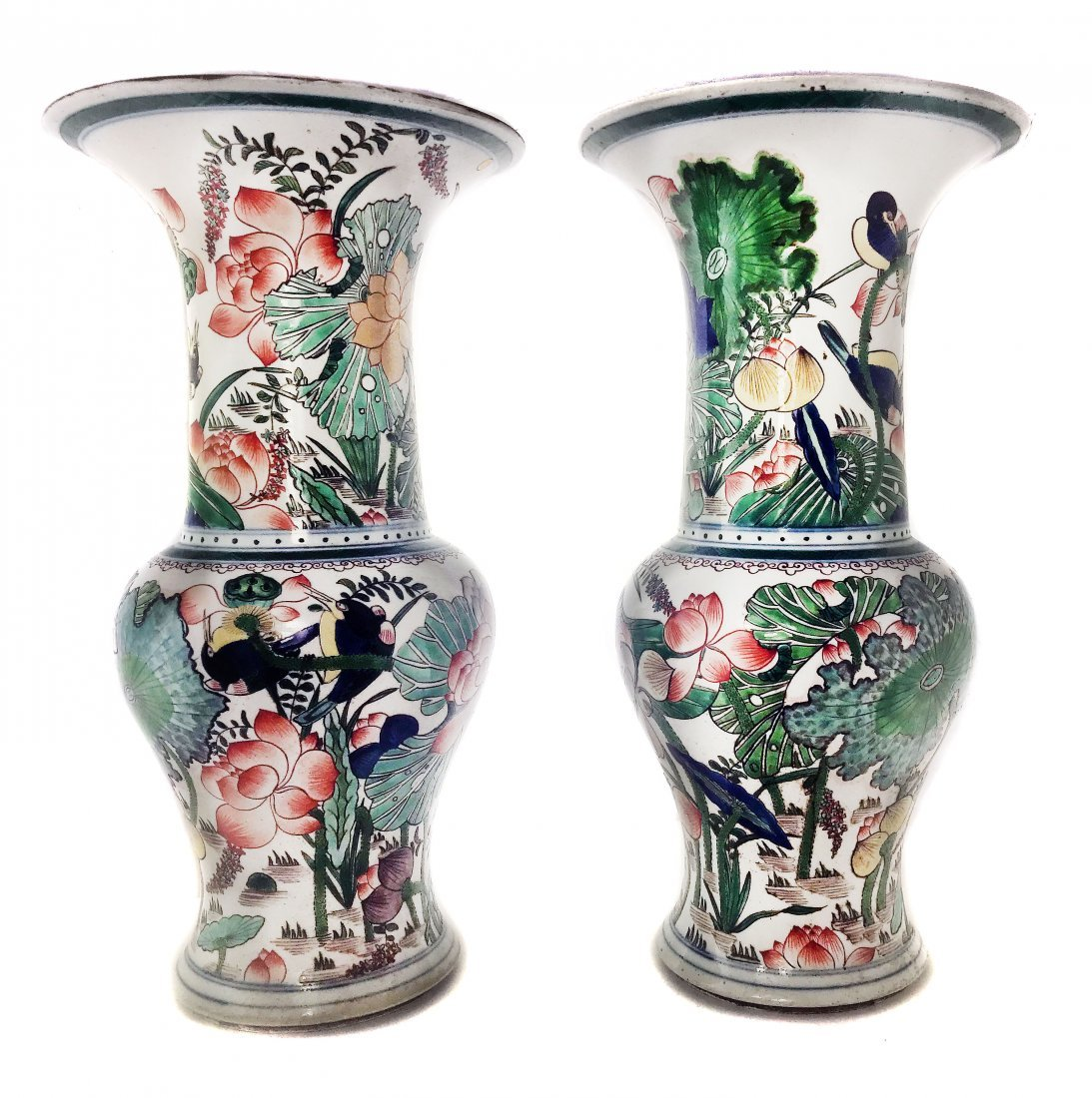 A Pair of Famille-Verte Vases , Chinese