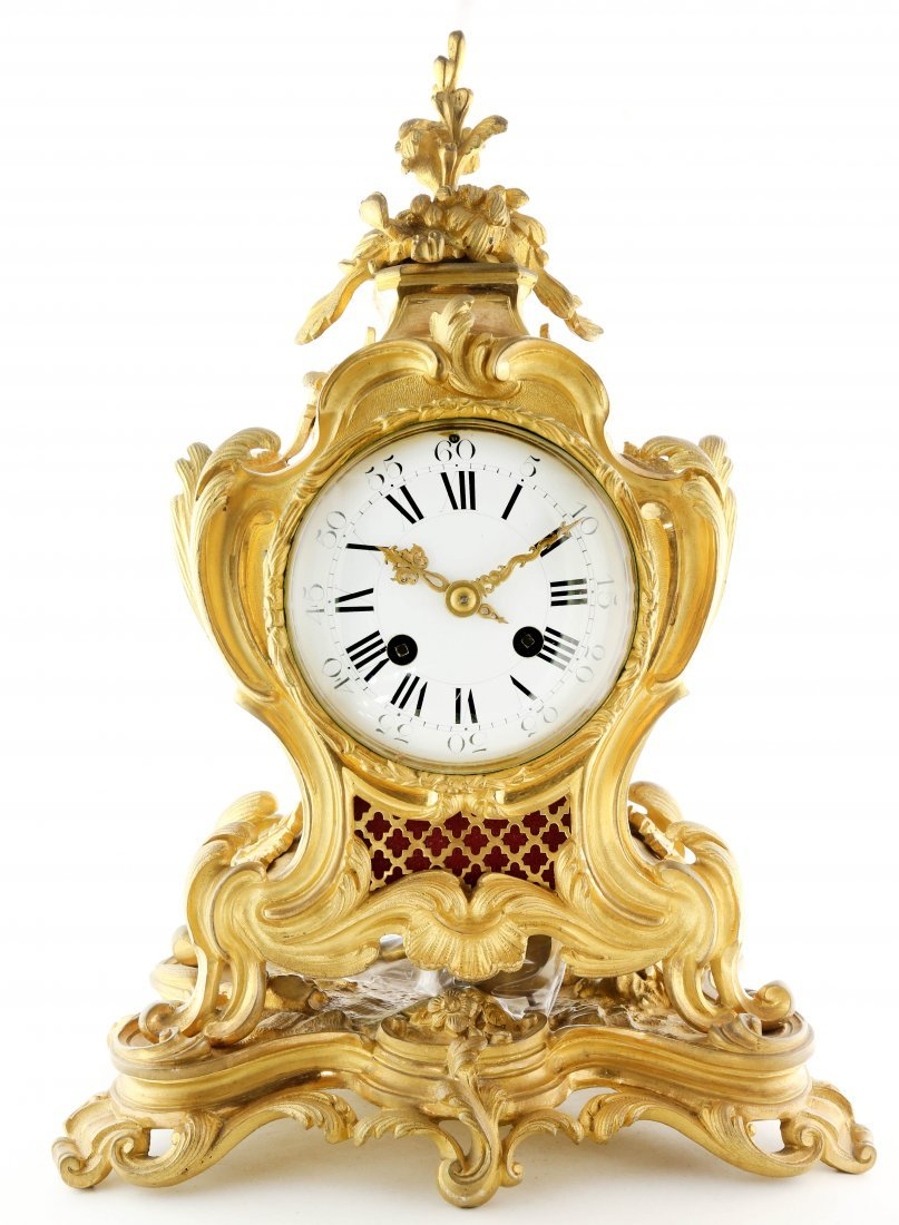 French Louis XV Style Gilt-Bronze Mantel-Clock, c1880