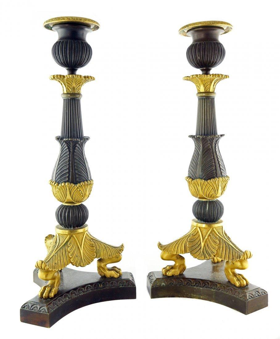 Pair French Empire Gilt & Patinated Bronze Candlestics