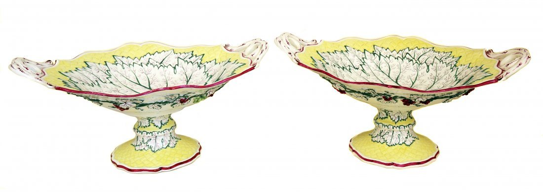 Pair Italian Glazed-Pottery Fruit-Stands