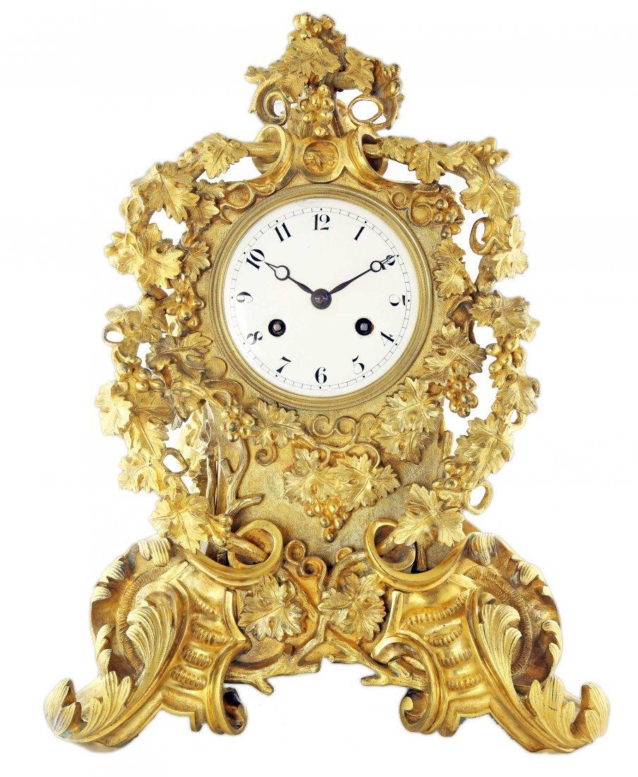 French Rococo Style Gilt-Bronze Mantel-Clock
