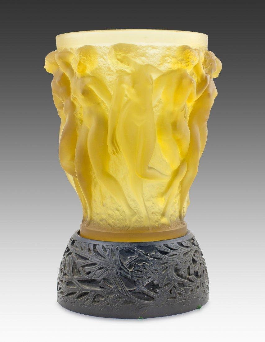 RENE LALIQUE 'BACCHANTES' YELLOW GLASS VASE