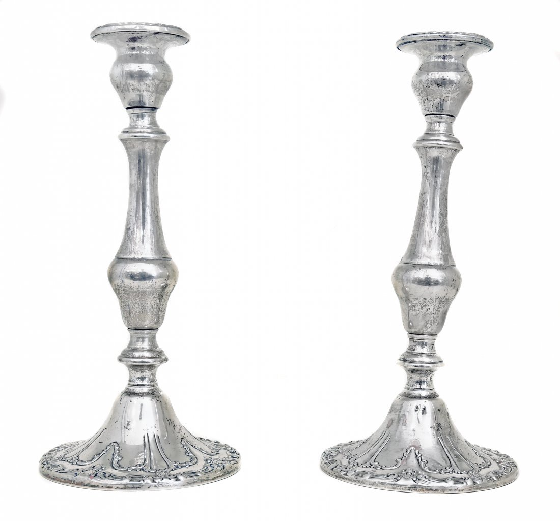 A Pair Of American Silver Candlesticks, Gorham,New York
