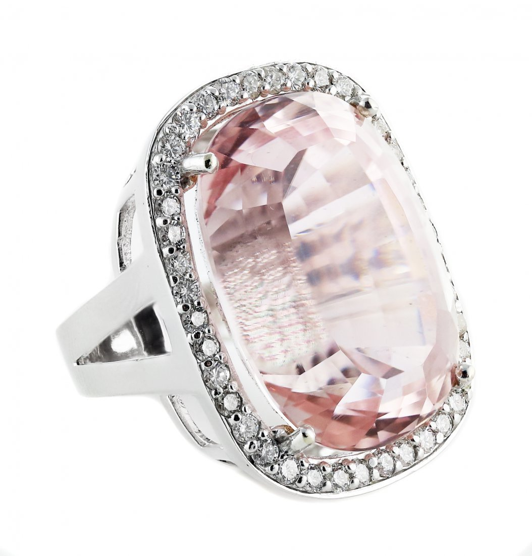18 Karat Gold, Kunzite and Diamond Ring