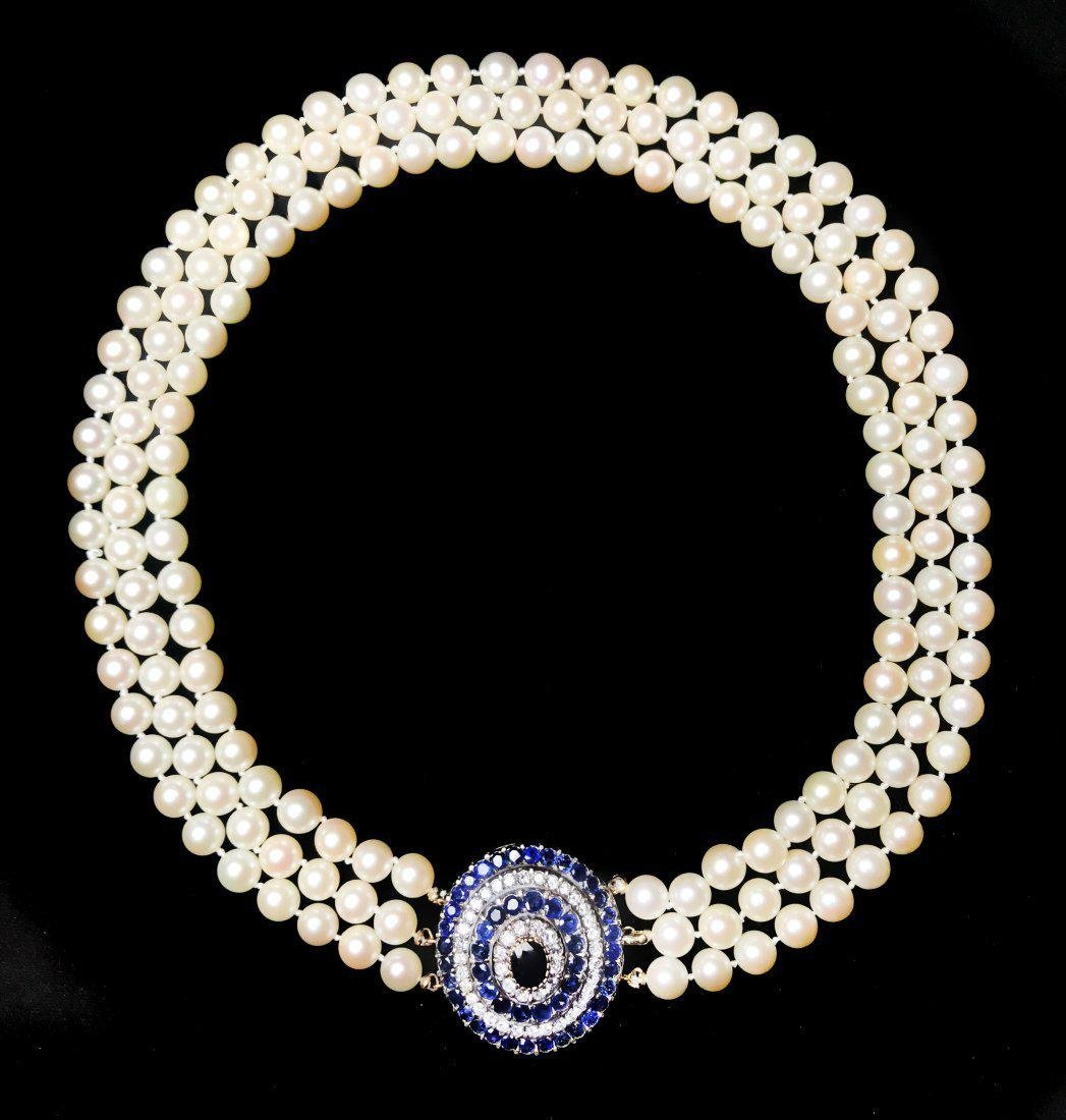 CULTURED PEARL, SAPPHIRE, RUBY AND DIAMOND NECKLACE