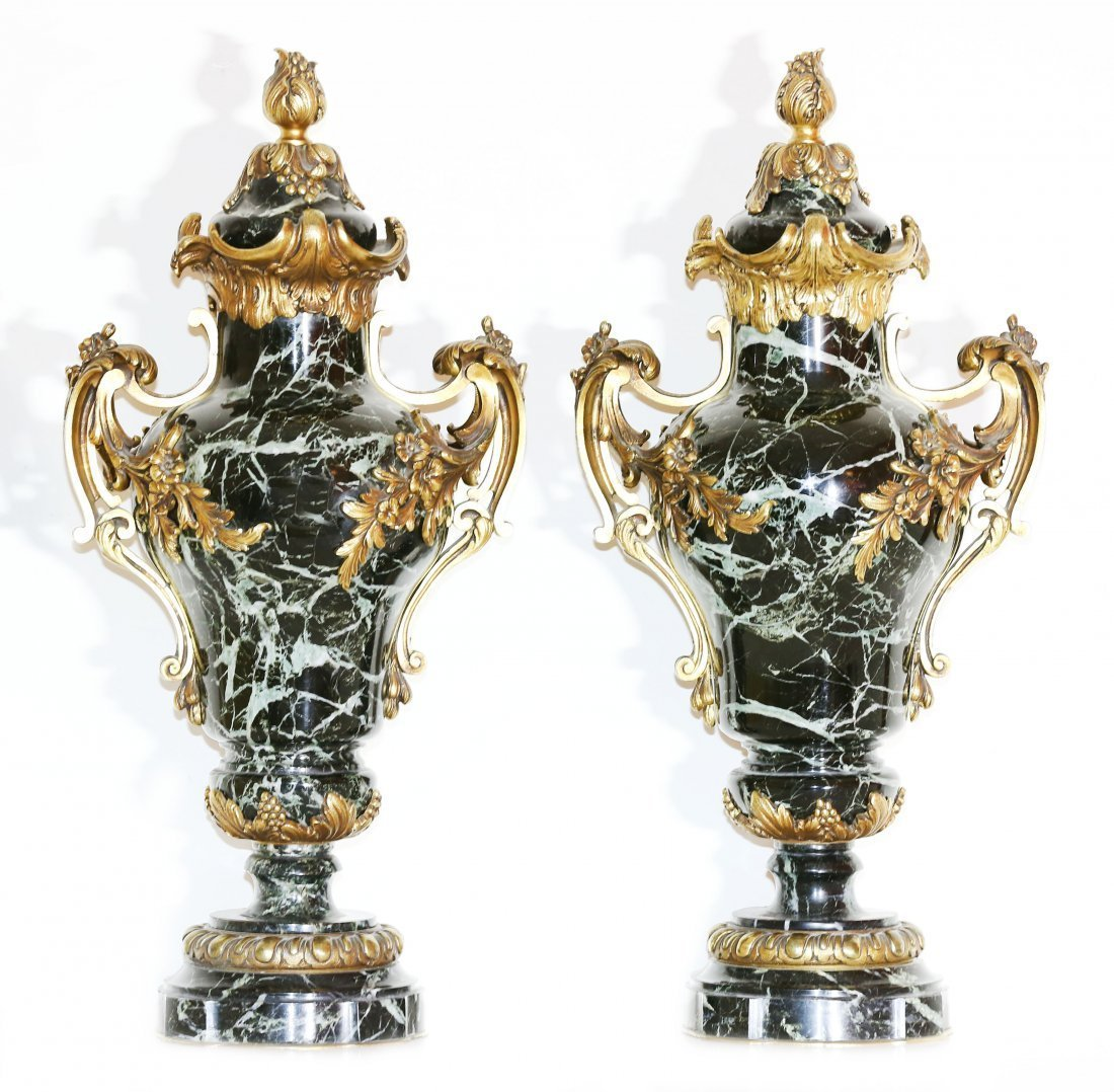 PAIR OF GILT-BRONZE MOUNTED MARBLE COVERED URNS