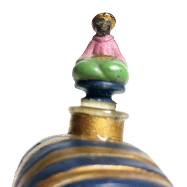 UNUSUAL FRENCH GILT ENAMEL GLASS PERFUME BOTTLE - 4