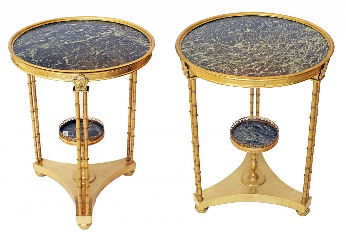PAIR GILT-BRONZE AND MARBLE GUERIDONS