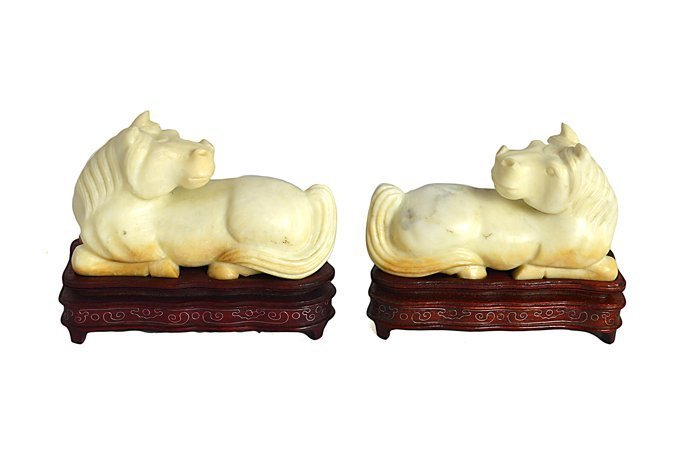 PAIR OF CHINESE CARVED SERPENTINE HORSES