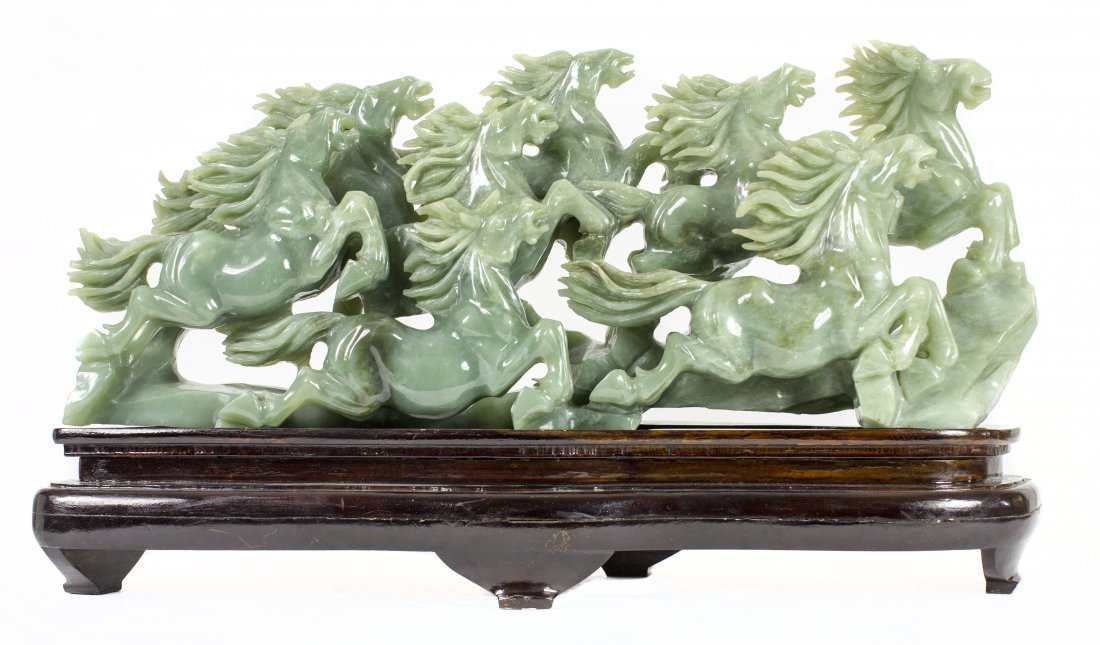 CHINESE CARVED HARD STONE GROUP OF EIGHT HORSES