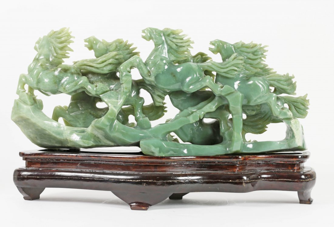 CHINESE CARVED HARD STONE GROUP OF EIGHT HORSES - 2