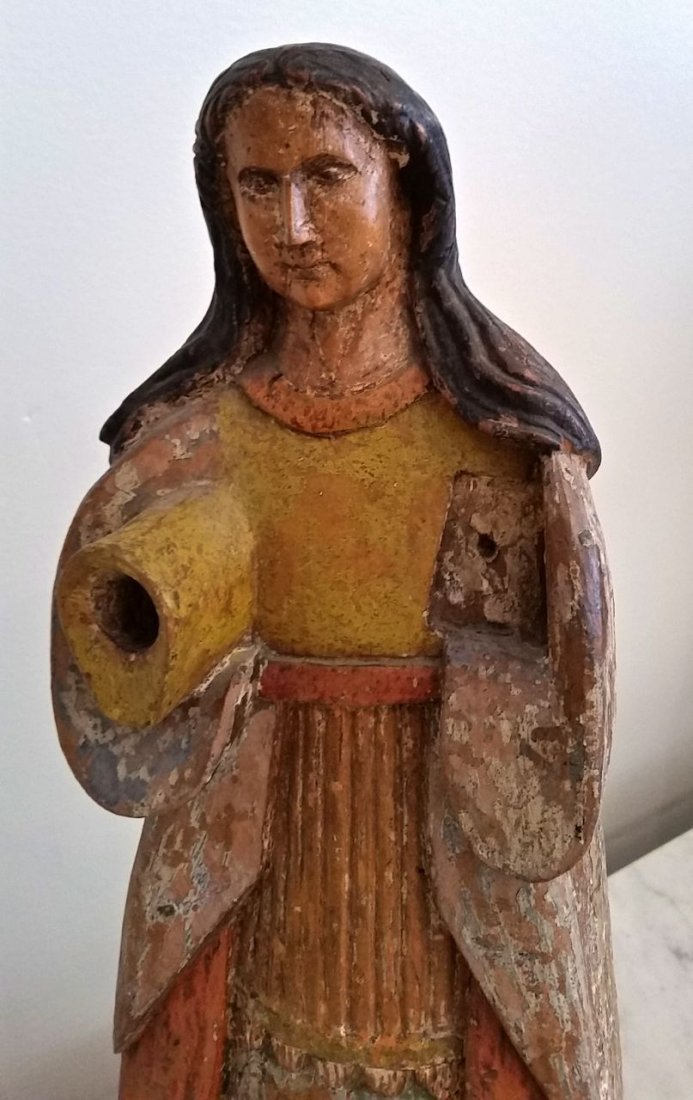 SPANISH COLONIAL PAINTED WOOD SANTOS OF THE VIRGIN MARY - 2