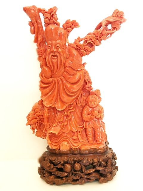 FINE CHINESE  CARVED CORAL FIGURE