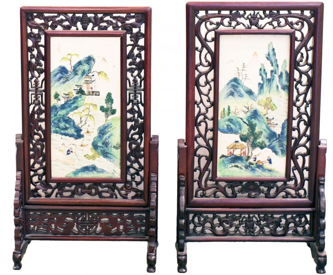 PAIR OF CHINESE FAMILLE ROSE PORCELAIN TABLE SCREEN