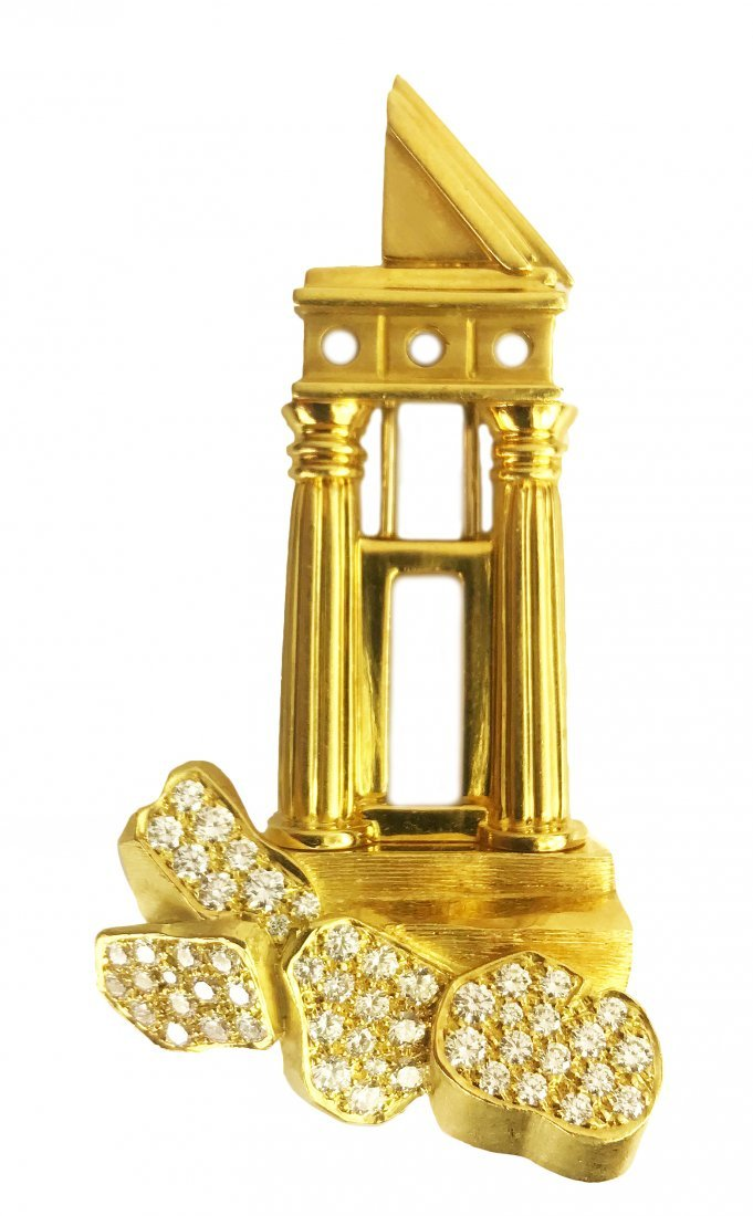 HENRY DUNAY, 18 Karat Gold and Diamond  Brooch