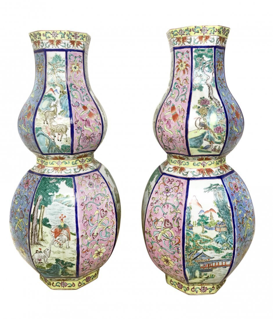 PAIR CHINESE OCTAGONAL DOUBLE GOURD PORCELAIN VASES