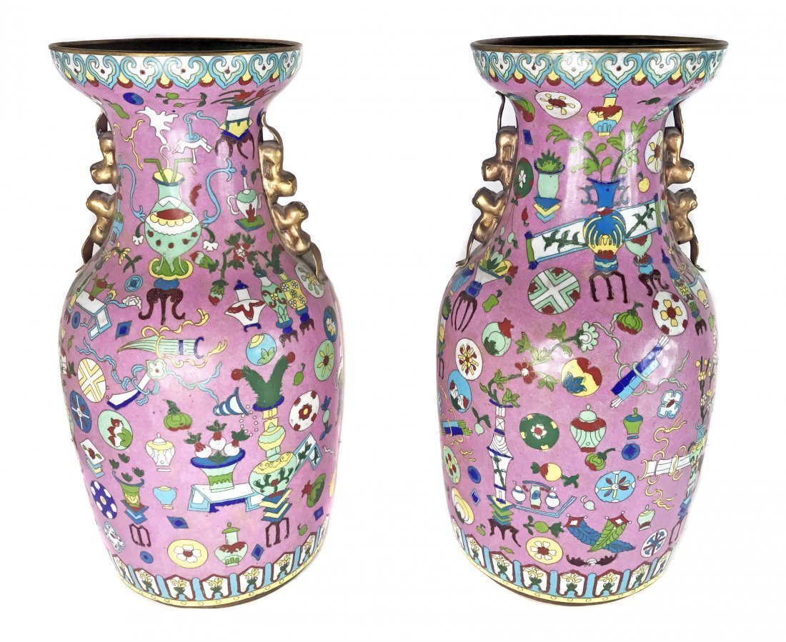 A PAIR OF CHINESE CANTON PAINTED ENAMEL VASES