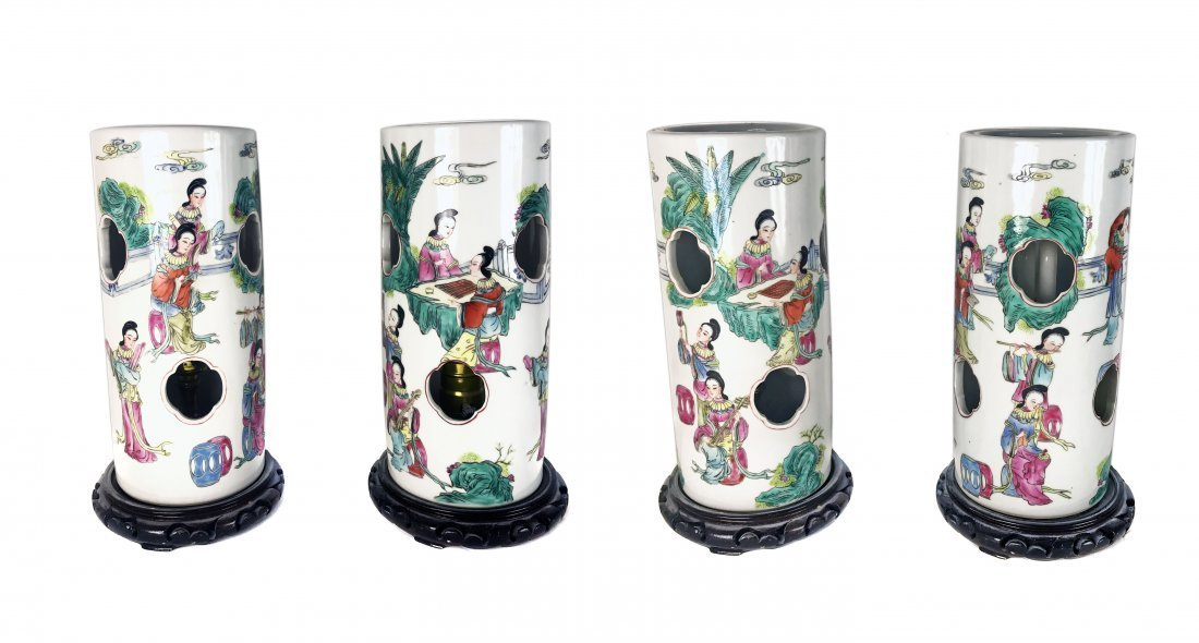 """FOUR CHINESE PORCELAIN """"HAT STAND"""" LAMPS"""
