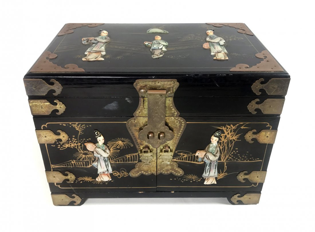 CHINESE BRASS-MOUNTED AND BONE INLAID WOOD JEWELRY BOX