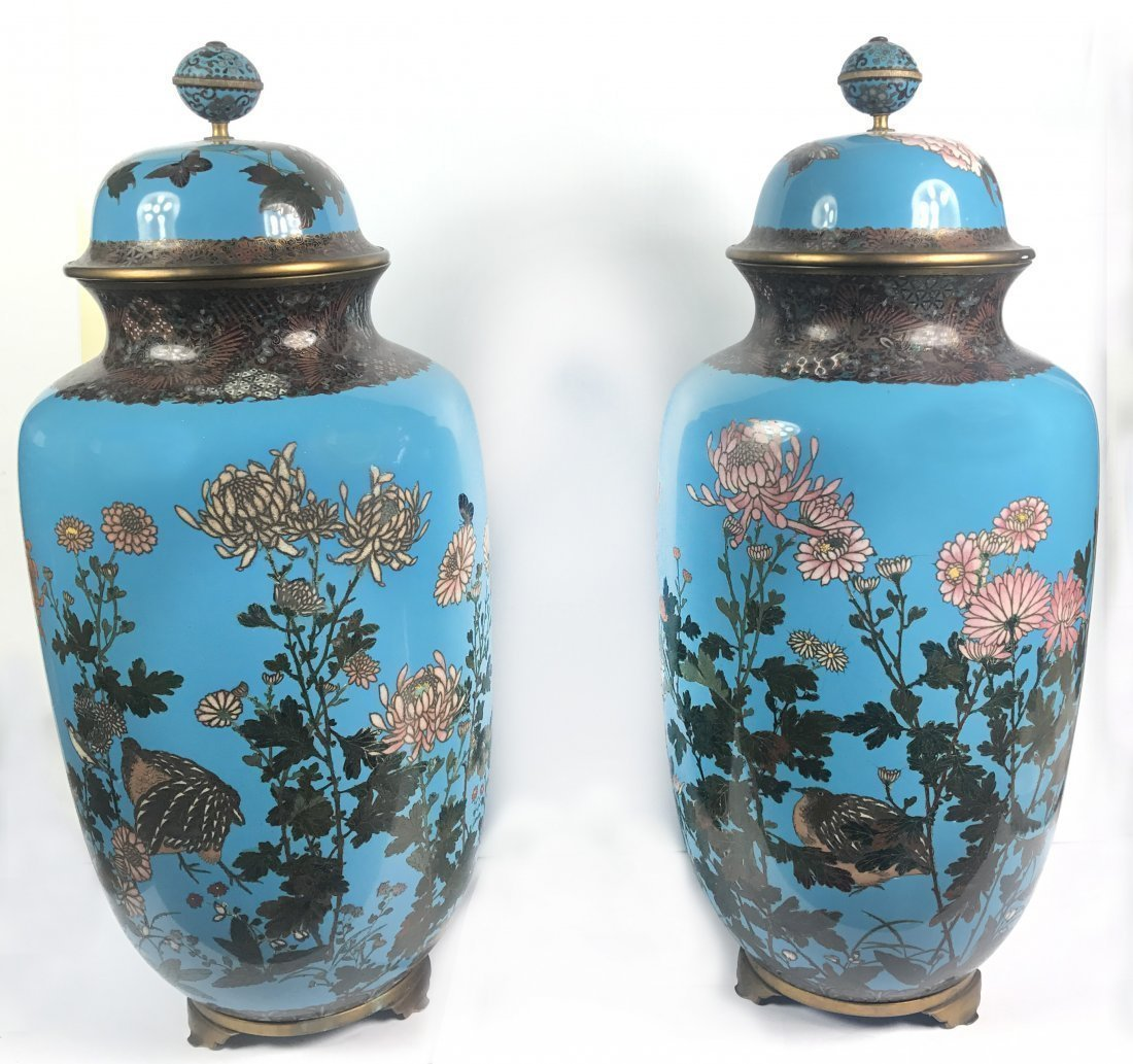 A PAIR OF LARGE JAPANESE CLOISONNE ENAMEL VASES